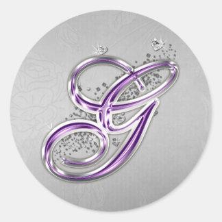 Púrpura y pegatina de G del monograma del brillo