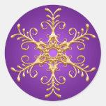 Púrpura y pegatina del copo de nieve del oro