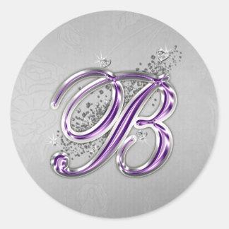 Púrpura y pegatina del monograma B del brillo de