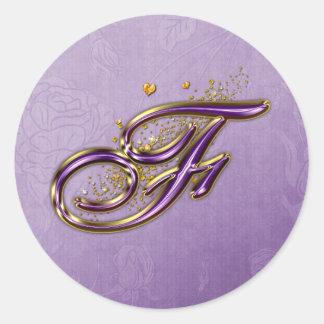 Púrpura y pegatina del monograma F del brillo del