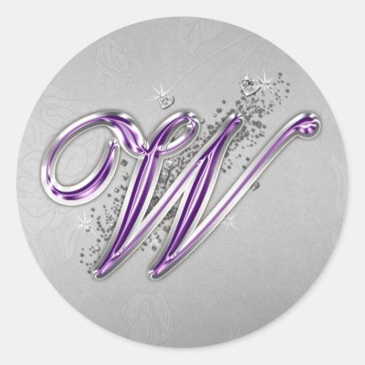 Púrpura y pegatina del monograma W del brillo de l