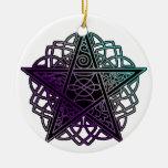 Púrpura y pentáculo complejo de la aguamarina ornamento para reyes magos