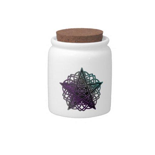 Púrpura y pentáculo complejo de la aguamarina plato para caramelo