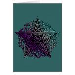 Púrpura y pentáculo complejo de la aguamarina tarjeta