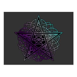 Púrpura y pentáculo complejo de la aguamarina postales
