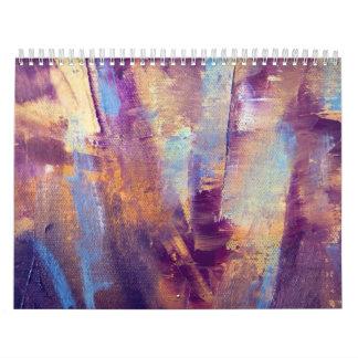 Púrpura y pintura al óleo abstracta del oro calendarios