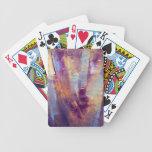Púrpura y pintura al óleo abstracta del oro baraja cartas de poker