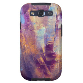 Púrpura y pintura al óleo abstracta del oro samsung galaxy s3 coberturas