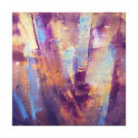 Púrpura y pintura al óleo abstracta del oro lona envuelta para galerias
