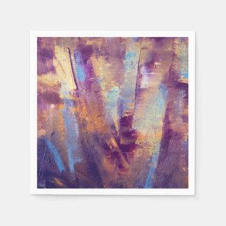 Púrpura y pintura al óleo abstracta del oro servilletas de papel