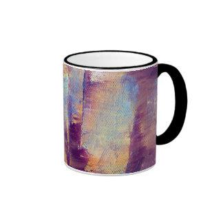 Púrpura y pintura al óleo abstracta del oro taza