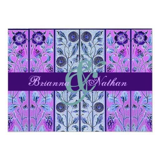 """Púrpura y plantilla azul del boda del damasco de invitación 5"""" x 7"""""""