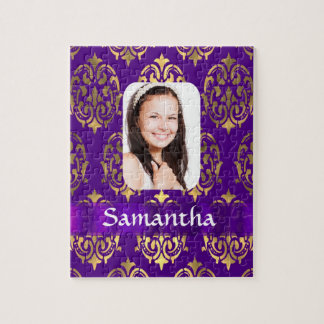 Púrpura y plantilla de la foto del damasco del oro puzzle