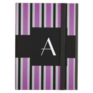 Púrpura y rayas negras del monograma
