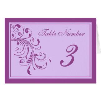 Púrpura y rizos florales de la lavanda que casan tarjeta de felicitación