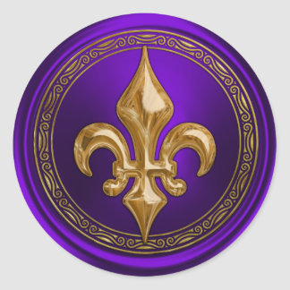 Púrpura y sello del sobre de la flor de lis del pegatina redonda