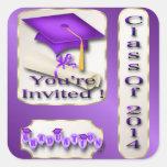 Púrpura y sello del sobre de la graduación del oro pegatina cuadradas