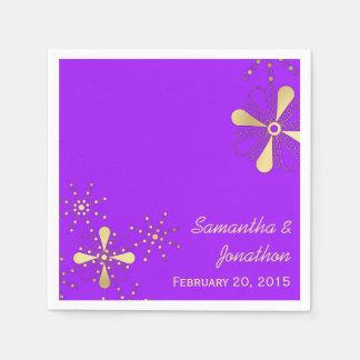 Púrpura y servilletas que se casan inspiradas servilleta de papel