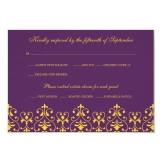 """Púrpura y tarjeta barroca de la respuesta de RSVP Invitación 3.5"""" X 5"""""""