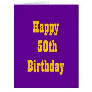 Púrpura y tarjeta de cumpleaños grande del oro 50.
