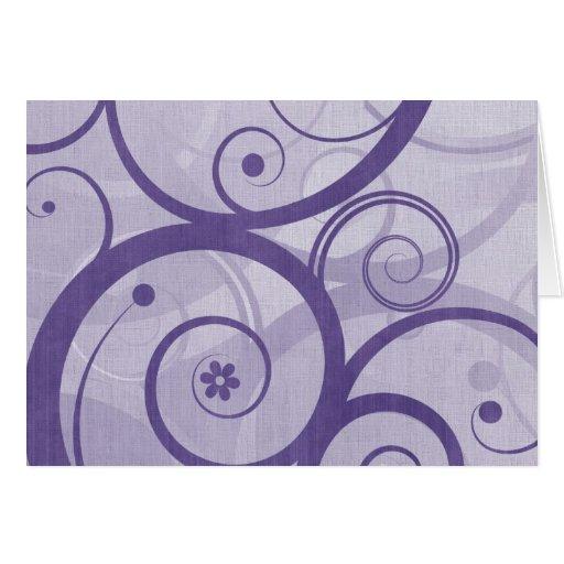 Púrpura y tarjeta del remolino de la lavanda