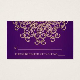 Púrpura y tarjeta inspirada india del lugar del tarjetas de visita