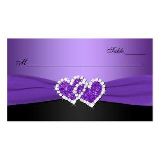 Púrpura y tarjeta unida negro del lugar de los tarjetas de visita