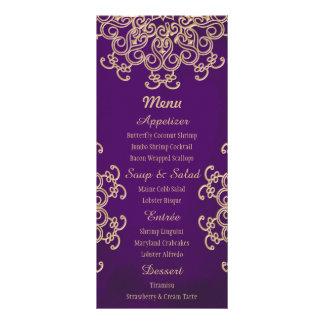 """Púrpura y tarjetas indias del menú del estilo del  folleto publicitario 4"""" x 9"""""""