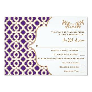 """Púrpura y tarjetas marroquíes de la respuesta del invitación 3.5"""" x 5"""""""
