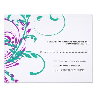 Púrpura y trullo RSVP que se casa floral doble Invitaciones Personales