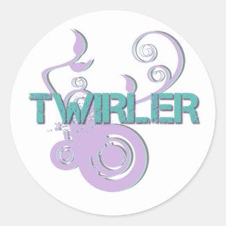Púrpura y Twirler de la turquesa Pegatina Redonda