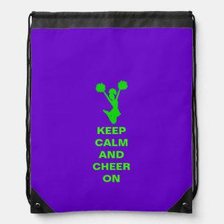 Púrpura y verde claro guarde a la animadora tranqu mochila