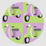 Púrpura y verde etiqueta redonda
