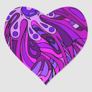 Púrpuras ocho pegatina en forma de corazón