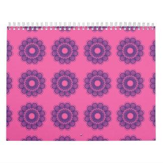 Púrpuras rosadas del estampado de plores calendarios de pared