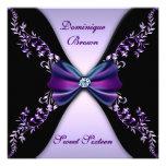 Púrpuras y negros elegantes invitan con el arco de comunicado personalizado