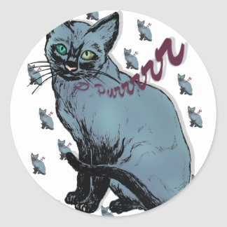 Purr collage cat lovers gifts round sticker