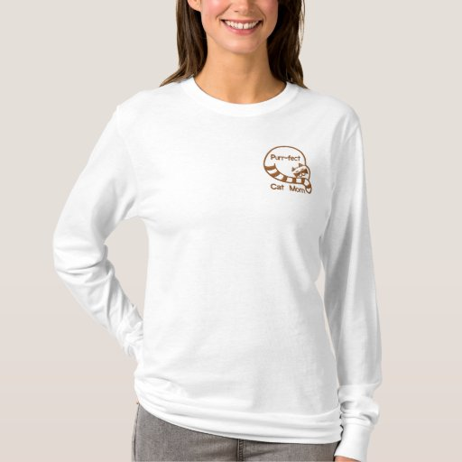 Purr-fect Cat Mom Embroidered Long Sleeve T-Shirt