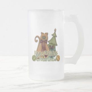 PURR-fect Christmas 16 Oz Frosted Glass Beer Mug