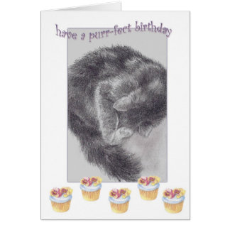 PURR-FECT  CUPCAKE BIRTHDAY GREETING CARD