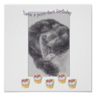 PURR-FECT  CUPCAKE FINE ART BIRTHDAY GREETING POSTER