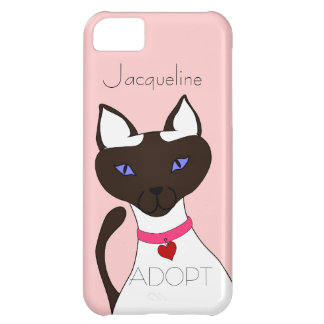 Purr-fect Moira ADOPT pink Siamese cat 5C Case For iPhone 5C