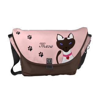 Purr-fect Moira Pink Commuter Bag Blank Back Courier Bag