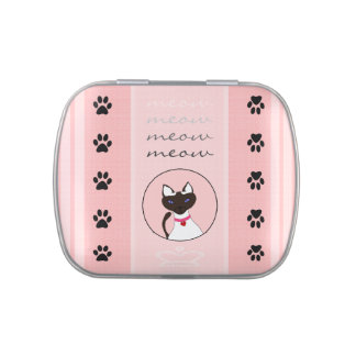 Purr-fect Moira Pink Stripe Detail square tin Jelly Belly Candy Tins