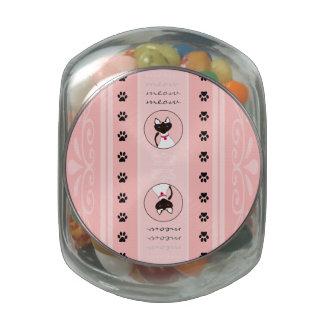 Purr-fect Moira Pink Stripe glass jar