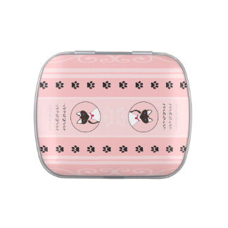 Purr-fect Moira Pink Stripe Sideways square tin Jelly Belly Candy Tins