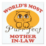 "Purr-fect Mother-In-Law 5.25"" Square Invitation Card"