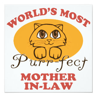 Purr-fect Mother-In-Law 5.25x5.25 Square Paper Invitation Card