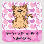Purr-fect Valentine Square Sticker