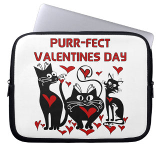 Purr-fect Valentines Day Laptop Computer Sleeves